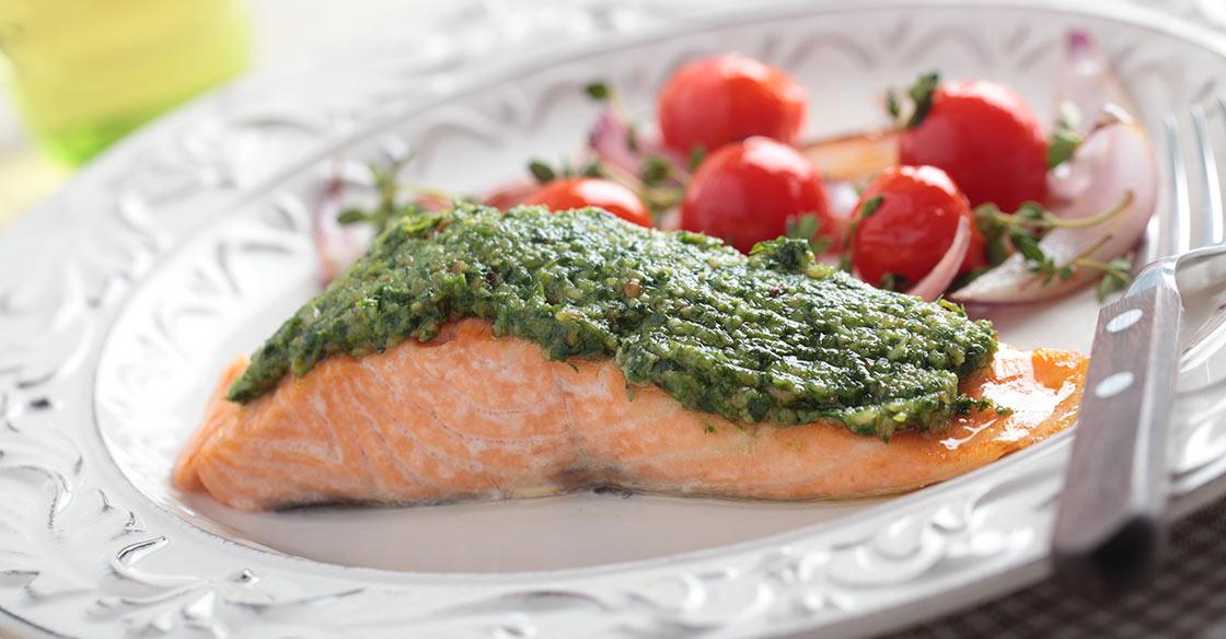 recette minceur de saumon au pesto